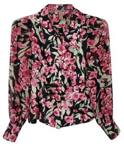 H&M Floral Blouse Professional Blouse Button Down Shirt multi-colored - black, pink, light green and white