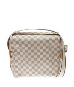 Louis Vuitton Blue & Cream Coated Canvas Leather Cross Body Bag