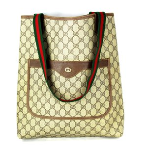 Gucci Monogram Laptop Weekend Travel Tote in Brown Tan