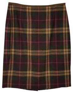 Brooks Brothers Brothers Plaid Professional Size 2 Skirt multi-colored - brown, pink, beige