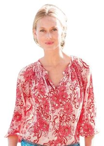 Sundance Top red lace pattern