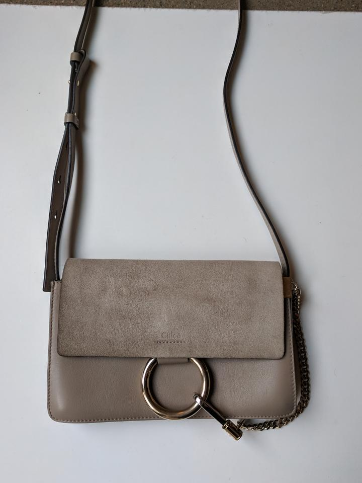 cb328e401c51 Perfect Chloé Faye Small Motty Grey Suede and Leather Cross Body Bag -  Tradesy FO19