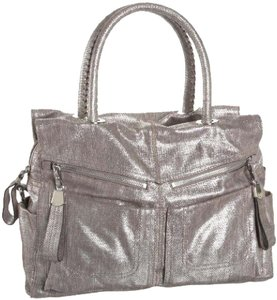 B. Makowsky Cross Body Metallic Silver Sparkle Pewter Satchel in Bronze