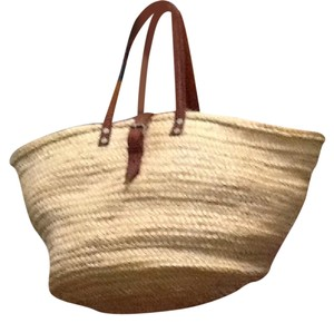 Other Tote in straw. burgundy/brown leather