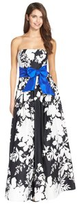 Eliza J Floral A-line Strapless Black & White Sash Dress
