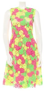 Valentino Floral Runway Lace Multi Color Short Dress