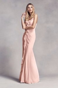 Vera Wang Blush Vera Wang White Collection Long Ruched Bridesmaid Dress In Blush Dress