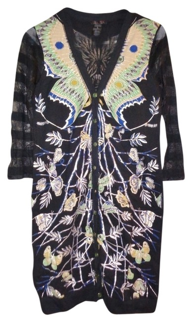 Preload https://item1.tradesy.com/images/custo-barcelona-black-cardigan-butterfly-design-above-knee-workoffice-dress-size-2-xs-2097115-0-0.jpg?width=400&height=650