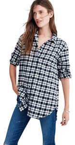Madewell Flannel Plaid Cotton Oversized Button Down Shirt Black & White