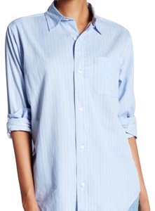 Current/Elliott Button Down Shirt Blue and White