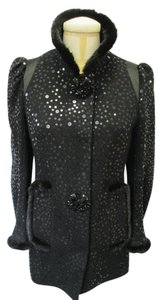 Andrew Gn Sequin Mink Trim Size 8 Black Jacket