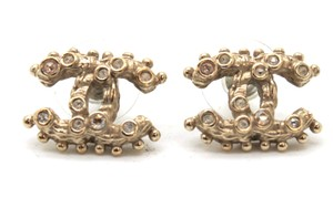 Chanel #10998 A12A CC gold textured crystals gold hardware pierced earrings