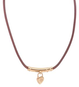 Hermès Hermes Brown Leather & Gold-Tone Heart Cadena Necklace