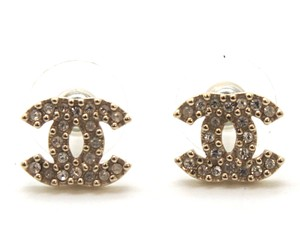 Chanel #11002 A12P Textured CC crystals gold pierced hardware earrings