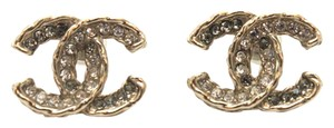 Chanel #11001 14P CC multicolor crystals gold hardware pierced earrings