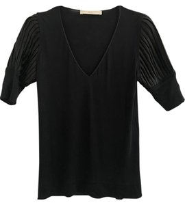 Stella McCartney Puff Sleeve Satin Pleated Top Black