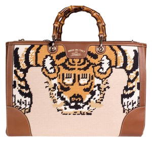 Gucci Needlepoint Lion Bamboo Tote in Brown