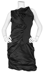 Marios Schwab Satin Ruched Cocktail Dress