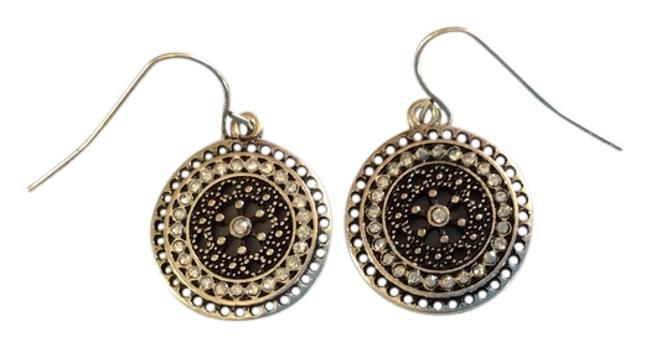Item - Antique Silver Round Disc with Rhinestones Cut Out Design Earrings