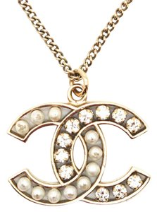 Chanel #11004 CC cyrstals pearls gold necklace long chain adjustable
