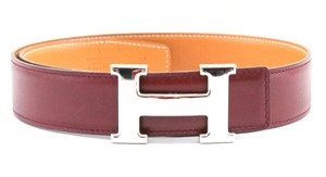 Herms #11005 32Mm Silver H Size 70 Reversible Belt Red on Gold
