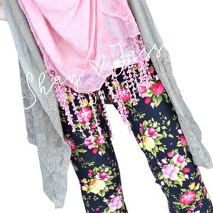 Other Buttery Soft Shay And Jazzy Paisley Yoga Pink & Yellow Floral Black Leggings