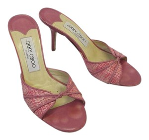Jimmy Choo Sandals 5 Pink Leather and Tweed Mules