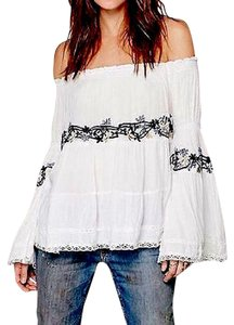 Free People Festival Peasant Banded Elastic Off The Fp Embroidered Floral Top White