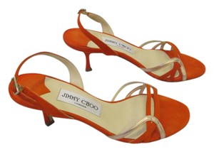 Jimmy Choo Slingback Size 35.5 Gold Metallic Accent Orange Suede Sandals