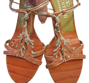 Valentino Size 6 Coral Snake Embossed Leather Sandals