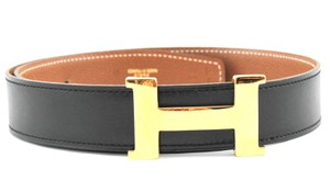 Herms #11007 Rare 30Mm Gold H Size 65 Reversible Belt Black on Gold