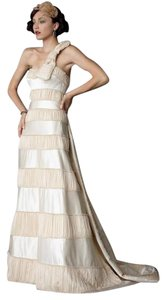 BHLDN (label Size 4) Bhldn Crescendo Silk Bowtied Tonal Striped Wedding Gown Wedding Dress