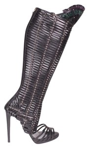Sergio Rossi Gladiator Feather Black Boots