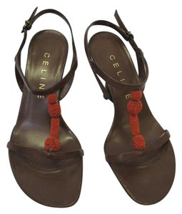 Céline Strappy Size 5 Brown Leather with Orange Beading Sandals