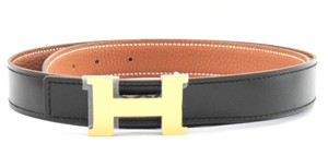 Herms Black and Cognac Reversible 24mm Constance Belt
