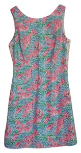Lilly Pulitzer short dress light blue, pink, and white Lobster on Tradesy