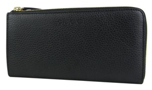 Gucci Gucci Women's Black Leather Zip Around Wallet with Logo 332747 1000