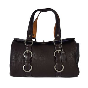 Coach Pebbled Leather Chelsea Euc Turn Lock Satchel in Brown
