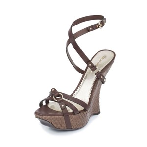Giorgio Armani Armani Genuine Leather Snakeskin Platform Brown Wedges