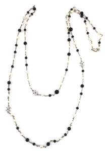 Chanel #11011 extra long CC crystal pearl bead double strand chain necklace