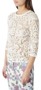 Dolce Vita Zip Back Bridal Wedding Dv Abelle Floral Lace Long Sleeve Chic Top White