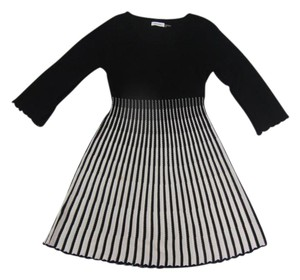 Calvin Klein Sweater Striped Knitted Crocheted Lace Dress