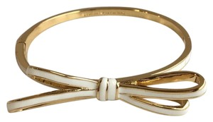 Kate Spade Kate Spade Tied Up Hinged Bow Bangle Bracelet Gold Cream White