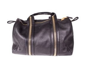 Tom Ford Leather Zipper Tote Duffle Black Travel Bag