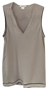 Helmut Lang Leather Blouse Top Grey