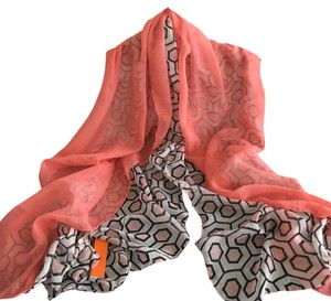 Other Lightweight Geo Print Scarf-Coral