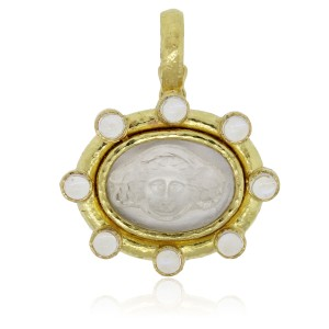 Elizabeth Locke ELIZABETH LOCKE 19K YELLOW GOLD ROCK CRYSTAL FACETED MOONSTONE PENDANT