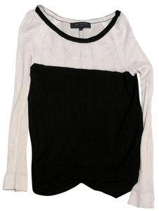 Rag & Bone And Mesh Color Block Black Sweater