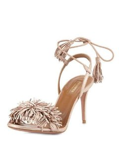 Aquazzura Wild Thing Wild Fringe Leather Rose Gold Sandals