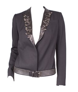 Balmain Safety Pin Studded Belt Black Blazer